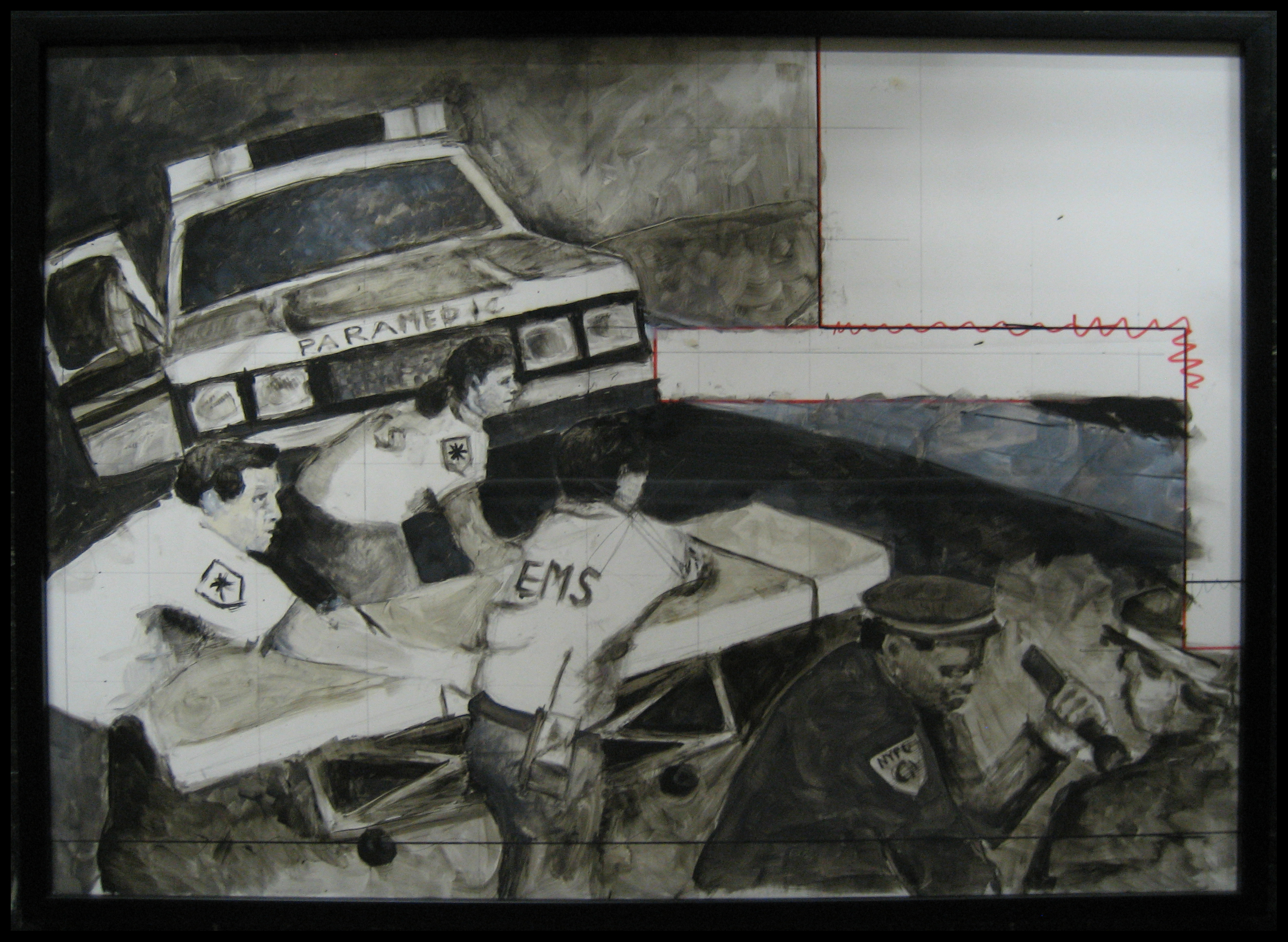 Cheng, Amy - EMS NYPD Maquette Study - 2003 - acrylic on board - 39 x 30 in - 35161